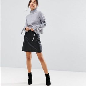 ASOS Warehouse Leather Look A-line Mini Skirt